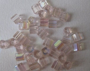 Vintage Czech Glass Pale Pink Beads With Aurora Borealis - AB Finish, 50Pcs