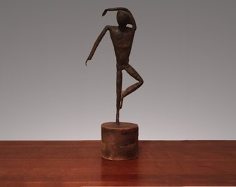 Brutalist Sculpture Vintage Metal Art Sculputure Dancer 1960s 1970s in the Style of Alberto Giacometti