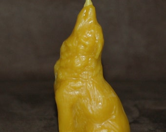 Pure Beeswax Wolf Candle ~ Howling Wolf Beeswax Candle