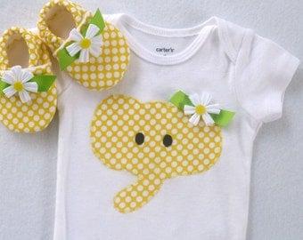 Elephant Bodysuit with Matching Crib Shoes / Baby Girl