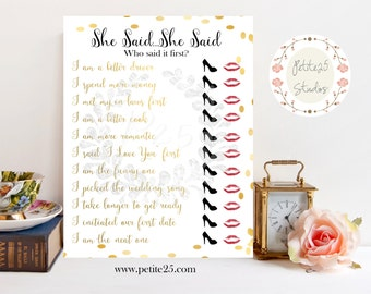 She Said She Said, Wedding shower game, bridal shower game, Same Sex Wedding, Same Sex Marriage, LGBT, Gold, INSTANT DOWNLOAD