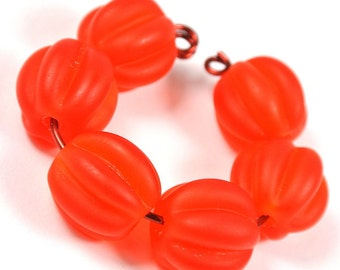 Handmade Lampwork Bead Set, Pumpkin beads, etched
