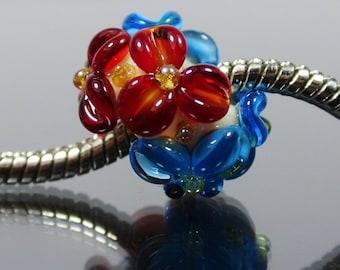 Handmade Lampwork Bead - Big Hole Bead BHB- fits European Charm Style Bracelets