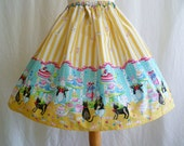 Womens Full Bunny Tea Party Quirky retro Style Skirt By Rooby Lane