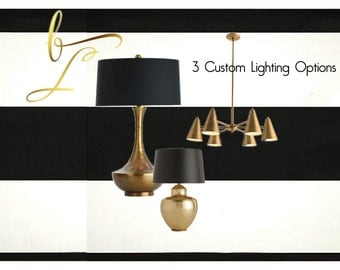 Lighting - Table Lamps - Chandelier Lighting - Pendant Lighting -E Design - Custom Lighting Selected For You - 3 Pieces - Interior Designer