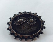 MOVING SALE Half Off Beautiful Antique Vintage Victorian Sterling Silver Sunflower Brooch