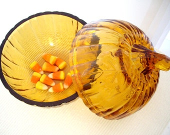 Vintage L E Smith Glass Company Amber handblown glass pumpkin Rare 1980s