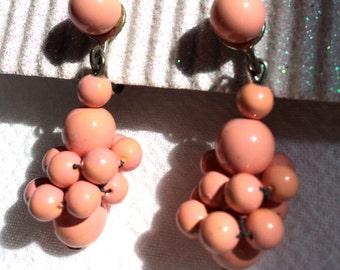 Vintage Beaded Dangle Drop Earrings 1960s