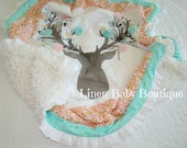 Deer Head Crib Blanket with Pink and Mint with Gold Cotton Picture Frame. Fast Shipping!