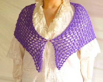 Shawl Hand Crocheted Purple with Victorian Cameo Pin