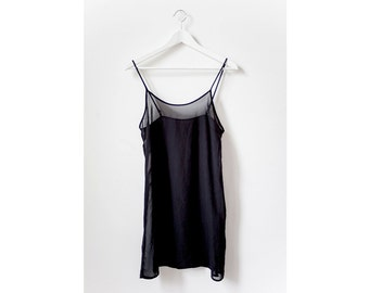 90s Black Chiffon Tank Dress