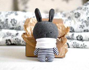 "Little bunny in a krapft paper box 16 cm / 6.3"" tall stuffed animal rabbit hare softie soft toy plushie grey white navy blue stripes"