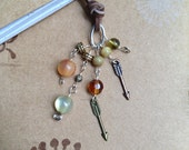 Arrows Bookmark Beaded Leather Book Thong Cupid Arrow Brown Beads Hunter Elf