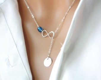 Personalized Infinity Lariat Y necklace with Customized Initial Disc and Birthstone -Sterling Silver, everyday wear, perfect gift for her