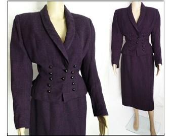 Vintage 1940s Suit // Lilli Ann of San Francisco // WWII-era //  Purple//40s suit