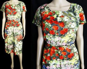 Vintage 1950s Dress // 50s Dress //  Floral Print // Vibrant Colors//Wiggle Dress//Nat Kaplan