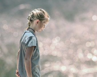 young girl, stepping into the stream, bokeh fine art print, feminine, bedroom wall art, blue pink