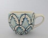 Handmade Wheel Thrown Ceramic Espresso Mug with Navy and Turquoise Blue