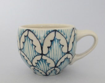 Handmade Wheel Thrown Ceramic Espresso Mug with Navy and Turquoise Blue