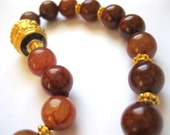 18K Gold Vermeil & Enamel Brown Agate Double Knotted Necklace