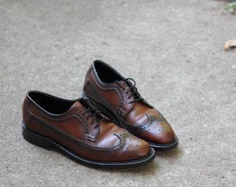 Lovely walnut leather USA made executive longwing wingtip brogue shoe - USA made - Men's 9.5 B narrow