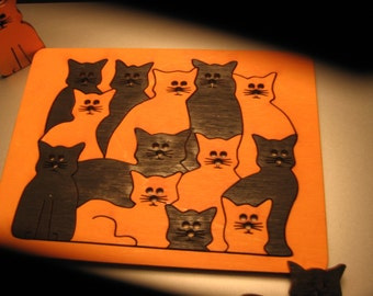 FREE SHIPPING - New Item - Cat Puzzle (13 Pieces) - (PZ-206)