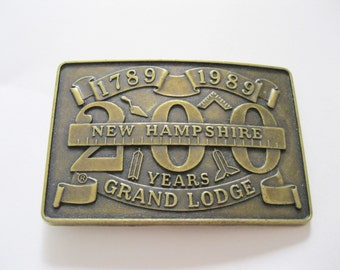 Masonic New Hampshire Grand Lodge Belt Buckle 200 Years Shriner. free US shipping - FL