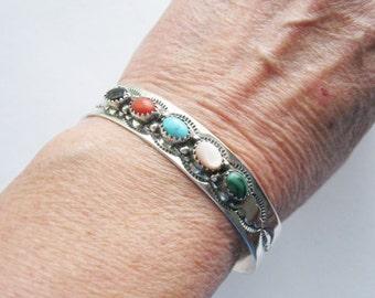 Navajo Sterling and Gemstone Cuff Bracelet Signed Southwest