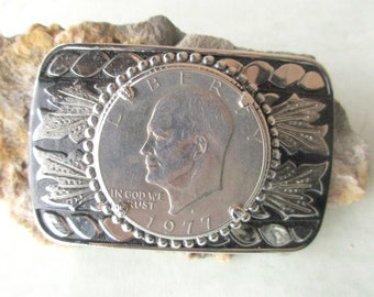 Eisenhower Silver Dollar 1977D Belt Buckle President Coin Western Style. Free US Shipping
