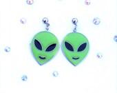 Vintage 90's ALIEN HEAD Hypoallergenic Earrings in Green