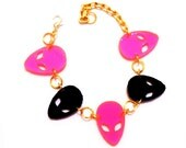 Neon Pink and Black ALIEN INVASION Adjustable Charm Bracelet