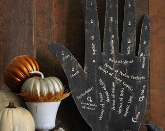 Fortune Hand Sign Halloween Fourtune Teller Hand Wooden Palm Reading Hand Sign