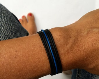 thin blue line leather bracelet. support police officers, police officers wife, leow. faux leather with lobster clasp.