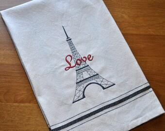 Eiffel Tower Tea Towe / Embroidered Kitchen Dishtowel / French Love Decor / Vintage Tea Stained Color Flour Sack / Paris Inspired Tea Towel