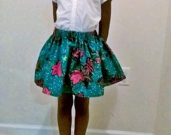 Pretty Ankara girl Skirt with head bow, African girl Skirts with head bow, African Clothing, Angelina African print Skirt, baby skirt