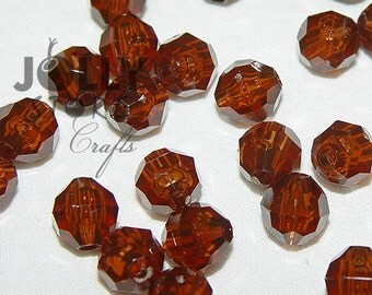 6mm Round Faceted Beads - Root Beer Translucent - 500 piece bag