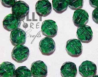 8mm Round Faceted Beads - Christmas Tree Green Translucent - 500 piece bag