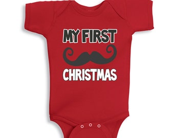 My First CHRISTMAS mustache Red baby bodysuit