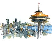 Seattle Space Needle  Seattle skyline Print from a watercolor sketch - fine art print for traveler