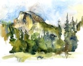 Yosemite National Park, Half Dome :print of a watercolor sketch