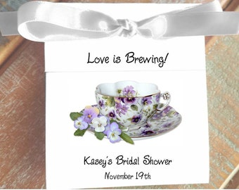 Viola Personalized  Teacup Tea Bag Party Favors for Bridal Shower or Wedding Birthday Celebration