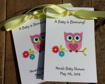 Cute and Fun Pink or Custom Colors Owl Baby Shower Flower Seed Favors SALE CIJ Christmas in July