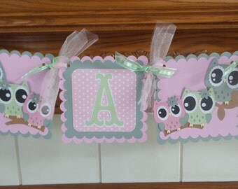 Owl Family Baby Banner, Pink Gray Green Owl Family Banner, Gender Reveal Banner It's A Girl Owl Family baby Banner, Poms are Available