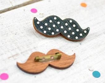 Polka Dot Moustach Brooch Pin | Moustache Jewellery | Movember