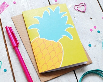 Pineapple Greetings Card | Recycled Card | Birthday Card | Thank You Card | Just Because Card | Blank Inside Notecard