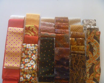 Mixed Fabric Strips in Warm Colors Variety Package FREE SHIPPING