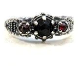 Ready to Ship Size 6-8 - Silver Steampunk Engagement Ring - Rose Cut Black Spinel and Rose Cut Red Garnets