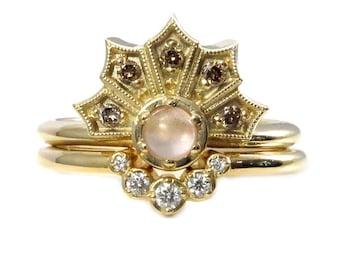 Champagne Diamond Fan Engagemen Ring with Oregon Sunstone and Diamond Nesting Band