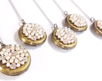 Vintage Rhinestone Locket Necklaces - Mixed Metal Necklace - Bridesmaid Locket - Wedding Locket - Locket Gift - Silver Necklace - Bridesmaid