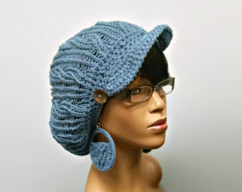 MADE TO ORDER Denim Blue hand knit cabled Newsboy Hat/ Slouchy beanie with brim and wooden button/ free crochet earrings 100% Cotton